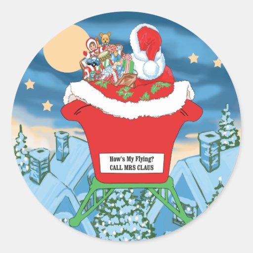 Humour drôle de Noël du père noël va comment mon Adhésif Rond