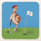 Humourous Bird Playing Golf Square Paper Coaster