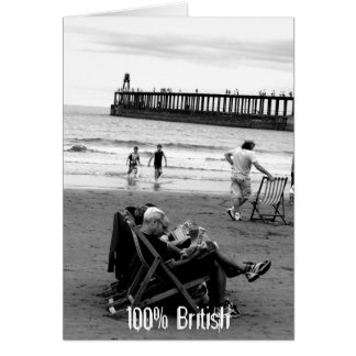 Humourous British at the Seaside in Monochrome Card