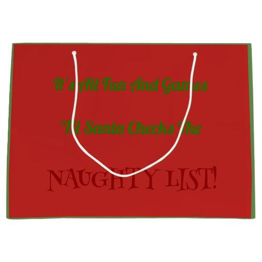 Humourous Christmas Naughty List Decorative Large Gift Bag