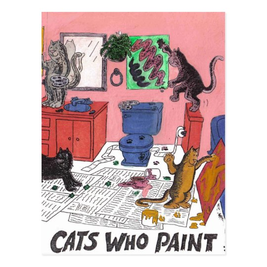 Humourous Colour Drawing of House Cats Who Paint Postcard