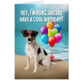 humourous dogy birthday card - happy jack russel d