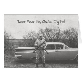 Humourous Hunter Deer Hunting Old Automobile Card