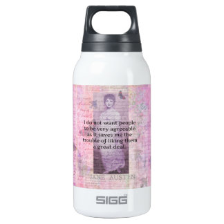 Humourous quote by JANE AUSTEN about people Insulated Water Bottle