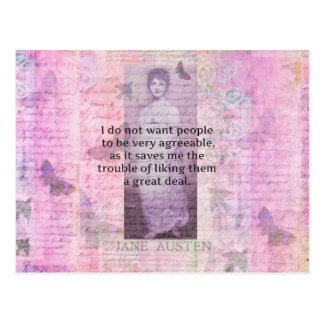 Humourous quote by JANE AUSTEN about people Postcard