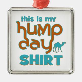 Hump Day Silver-Colored Square Ornament