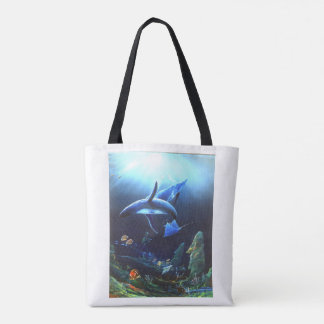 Humpback whale and thunderbolt tote bag