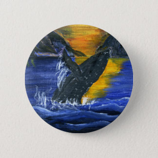 Humpback whale at Sunset 2 Inch Round Button