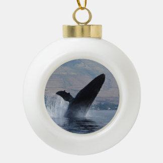 humpback whale breach ceramic ball christmas ornament