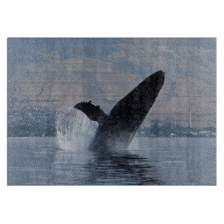 humpback whale breaching cutting board