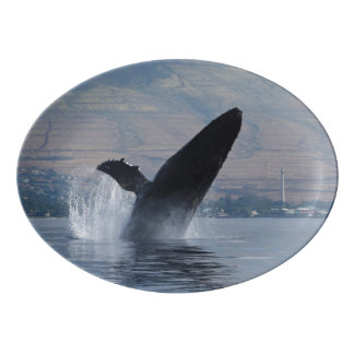 humpback whale breaching porcelain serving platter