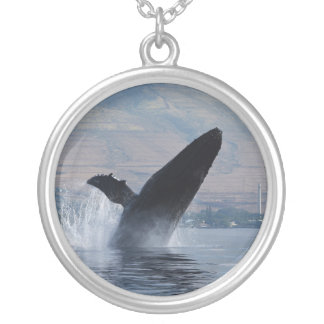 humpback whale breaching silver plated necklace