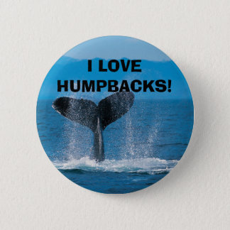 Humpback Whale, I LOVE HUMPBACKS! 2 Inch Round Button