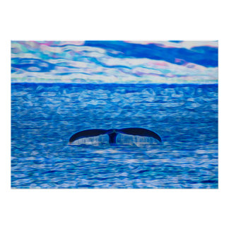 Humpback Whale Tail off the Coast of Maui Hawaii Poster