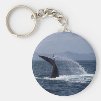 Humpback Whale Tail Splash Basic Round Button Keychain