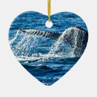 Humpback Whale Washington State Ceramic Heart Ornament