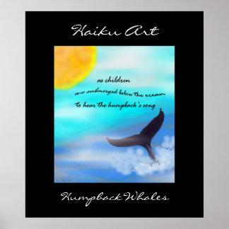 Humpback Whales Haiku Art Print