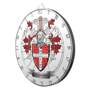 Humphrey Family Crest Coat of Arms Dartboard With Darts