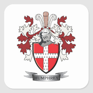 Humphrey Family Crest Coat of Arms Square Sticker