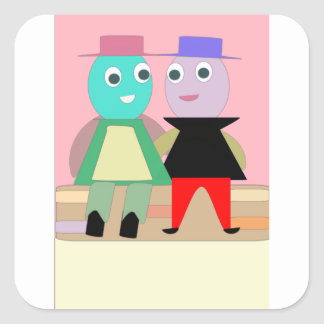 humpty couples square sticker