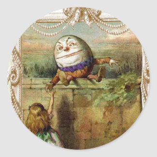 Humpty Dumpt and Alice Classic Round Sticker