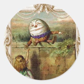 Humpty Dumpt and Alice Round Sticker