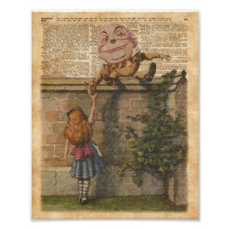 Humpty Dumpty & Alice Vintage Book Illustration Photo Print