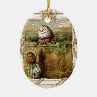 Humpty Dumpty and Alice Ceramic Oval Ornament