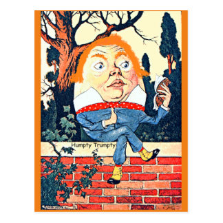 Humpty Dumpty Donald Trump Altered Vintage Illustr Postcard