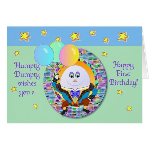 Humpty dumpty first birthday card template zazzle for First birthday board template