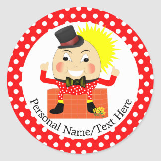 Humpty Dumpty Nursery Rhyme Cute Personalized Classic Round Sticker