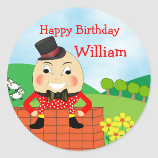 Humpty Dumpty Nursery Rhyme Theme Classic Round Sticker