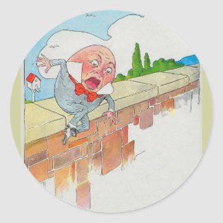 Humpty Dumpty sat on a wall Classic Round Sticker