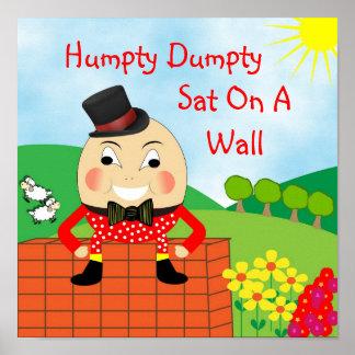 Humpty Dumpty Sat On A Wall Nursery Rhyme Poster