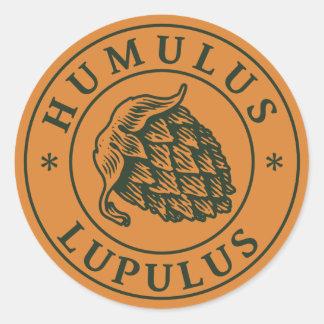 Humulus lupulus hop for craft beer round sticker