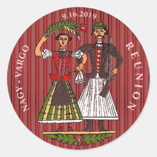 Hun Couple Chili Oil Stripe Classic Round Sticker