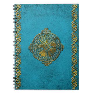 Hunab Ku Mayan symbol Vintage gold on old stone Notebook