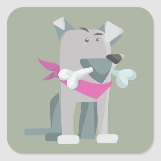 Hund Knochen dog bone Square Sticker