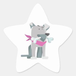 Hund Knochen dog bone Star Sticker