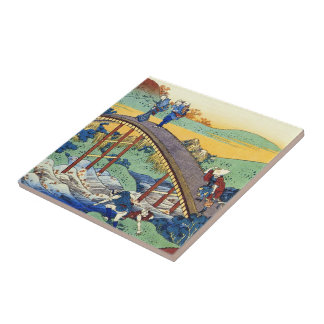 Hundred Poems Explained by the Nurse Hokusai Tile