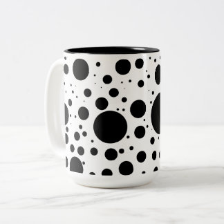 Hundreds of Black Dots and Circles in Varying Size Two-Tone Coffee Mug