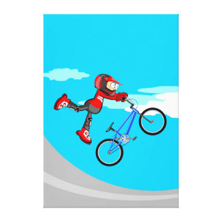 Hung young BMX of its bicycle in the air Canvas Print