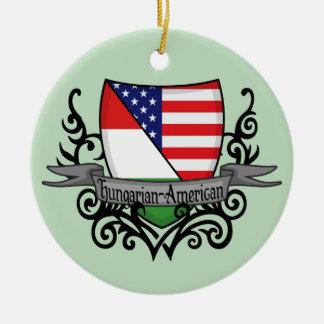 Hungarian-American Shield Flag Round Ceramic Ornament