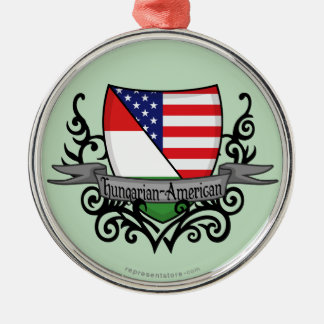 Hungarian-American Shield Flag Silver-Colored Round Ornament