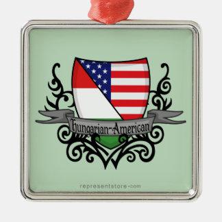 Hungarian-American Shield Flag Silver-Colored Square Ornament