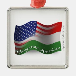 Hungarian-American Waving Flag Silver-Colored Square Ornament