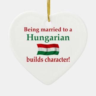 Hungarian Builds Character Ceramic Heart Ornament