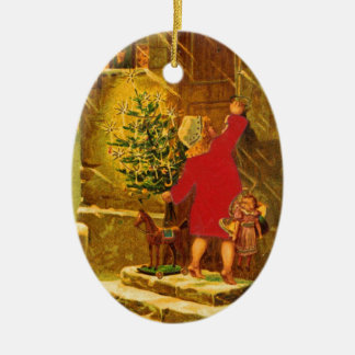 Hungarian Christmas from 1896 Ceramic Oval Ornament
