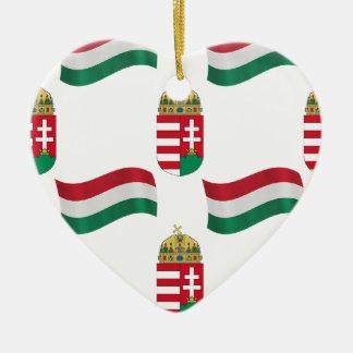 Hungarian Flag and Crest Ceramic Ornament