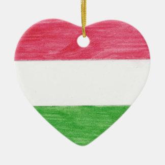 Hungarian Flag Ceramic Heart Ornament